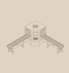 Empty conveyor belt with monitor outline vector