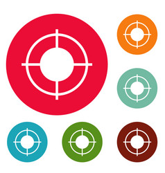 Far target icons circle set vector