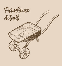 Farmhouse details art rural cart drawing vector