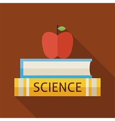 Flat Science Books with Apple and Knowledge with vector