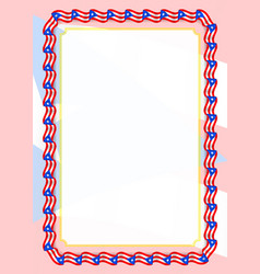 Frame and border of ribbon with puerto rico flag vector
