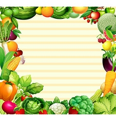 Frame design with vegetables and fruits vector image