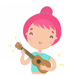 Funny girl playing ukulele Hawaiian guitar vector