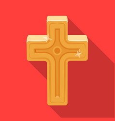 Golden cross easter single icon in flat style vector