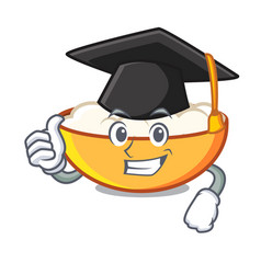 Graduation cottage cheese character cartoon vector