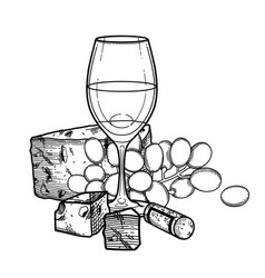 Graphic glass wine decorated with cheese vector