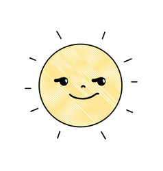 Grated rogue and cute sun kawaii weather vector