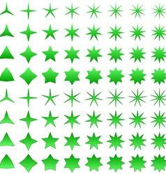 Green star symbol set vector