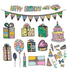 Happy birthday hand drawn decorations doodle set vector