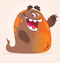 happy cartoon orange blob monster vector image