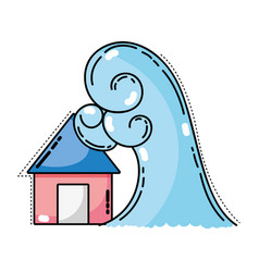 house flood to the water disaster weather vector image