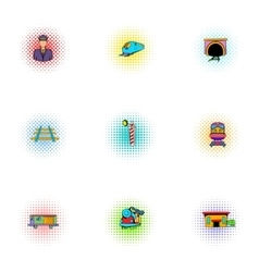 Iron way road icons set pop-art style vector