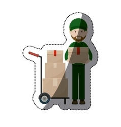 Isolated delivery package and man design vector