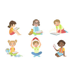 kid reading books set cute boys and girls vector image