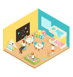 Kindergarten play room isometric design concept vector