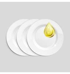 Kitchen dish wash drop on ceramic plates vector