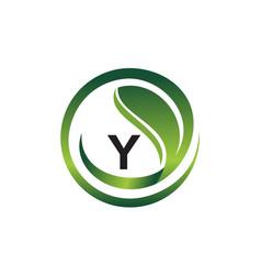 leaf initial y logo design template vector image