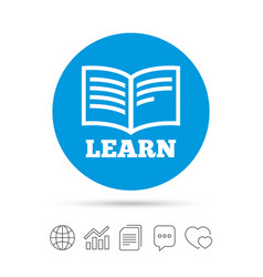 learn book sign icon education symbol vector image