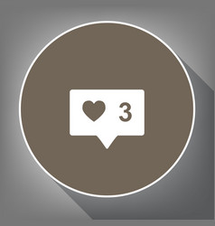 like and comment sign white icon on brown vector image