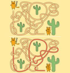 little cats maze vector image