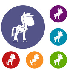 Little pony icons set vector