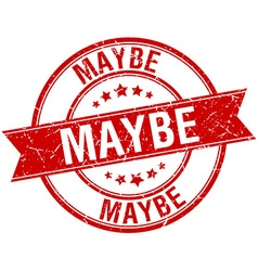 Maybe grunge retro red isolated ribbon stamp vector