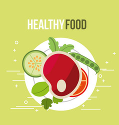 meat and tomato cucumber fresh healthy food vector image