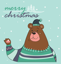 merry christmas card of bear with scarf vector image