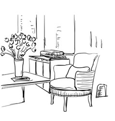 modern interior room sketch table chair flowers vector image