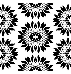 Monochromatic seamless floral pattern vector