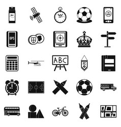 Motorbus icons set simple style vector
