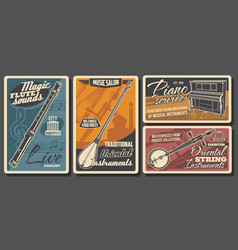 music instruments musical store retro posters vector image