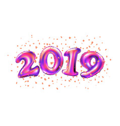 new year 2019 celebration purple foil balloons vector image