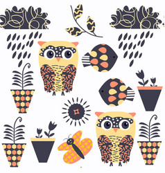 owls nature animals seamless pattern it is vector image