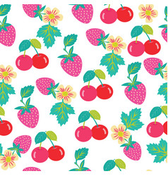pattern with strawberries and cherries vector image