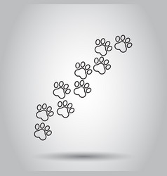 paw print animal icon in line style on isolated vector image