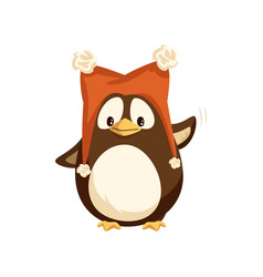 penguin in hat with furry balls isolated vector image