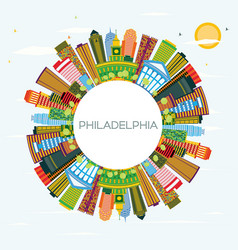 Philadelphia skyline with color buildings blue vector