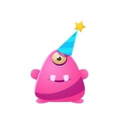 Pink One-Eyed Toy Monster In Party Hat vector