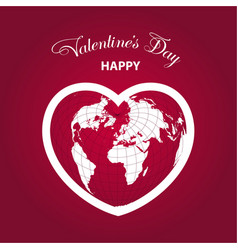pink world globe with hearts for valentines day vector image