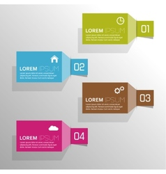 Plain colored paper stickers with numbers and vector image