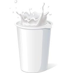 Plastic container for yogurt with splash - vector
