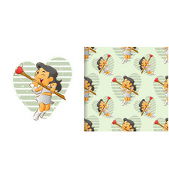 Seamless little cupid girls aims her vector
