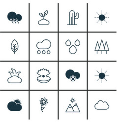 Set 16 ecology icons includes raindrop vector