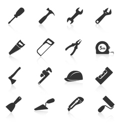set construction tools icons vector image