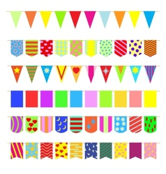 Set garlands colored flags vector