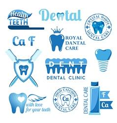 Set of dental decorative elements vector