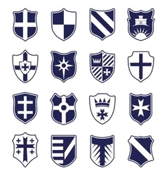 Set of heraldic shields on white background vector image