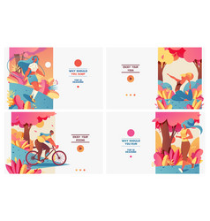 set of pastel bright banners with sport girls in vector image