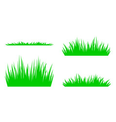 Set of silhouettes of green grass vector